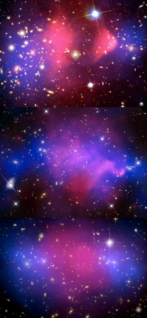 "Merging ""bullet clusters"" 1E 0657-56, Abell 520 and MACSJ0025-12. Dark matter is shown in blue, and baryonic gas in red."